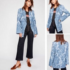 Free People Valerie Tapestry Blazer - blue velvet
